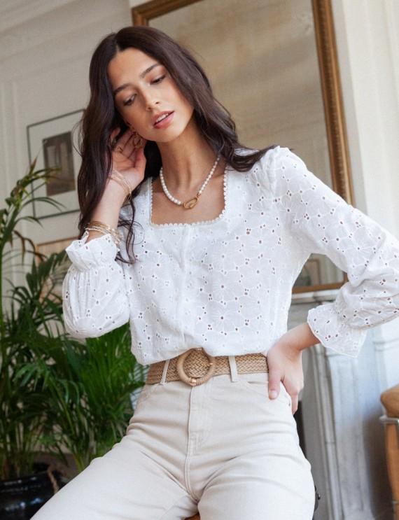 White Perle blouse