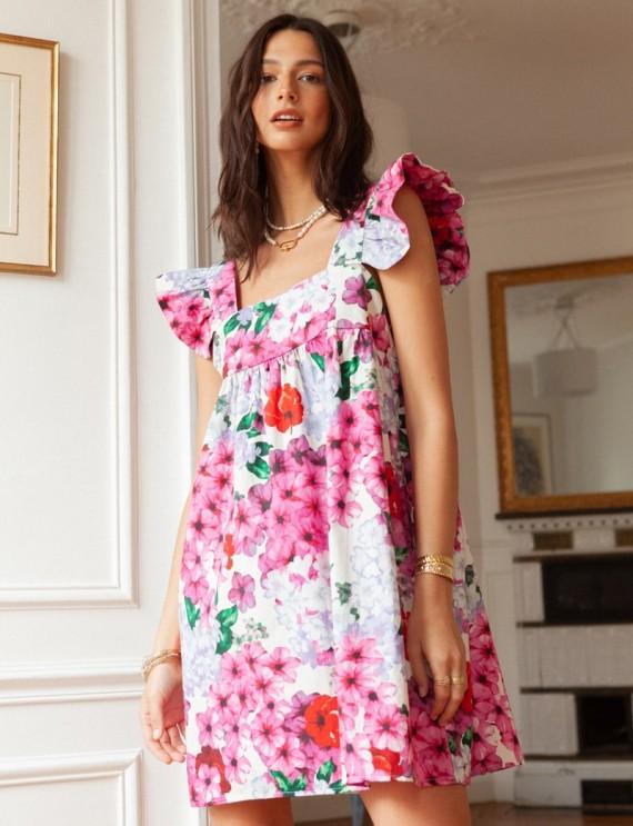Robe fleurie rose Marie