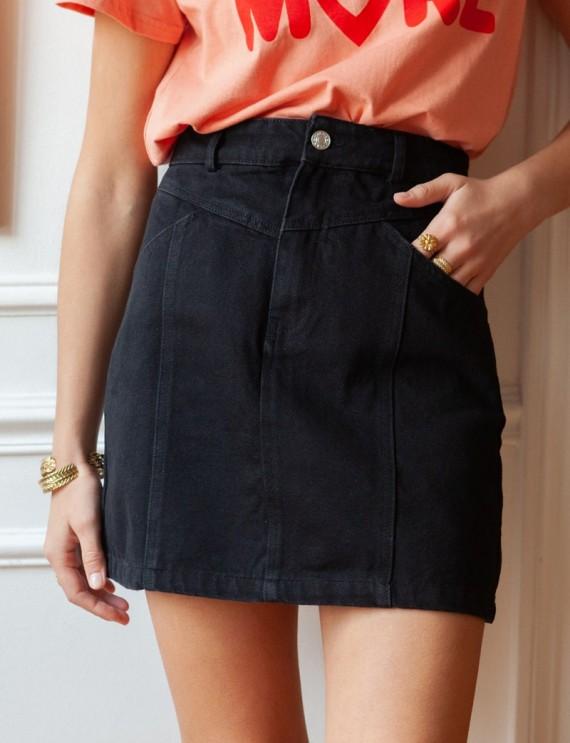 Black Caro denim skirt