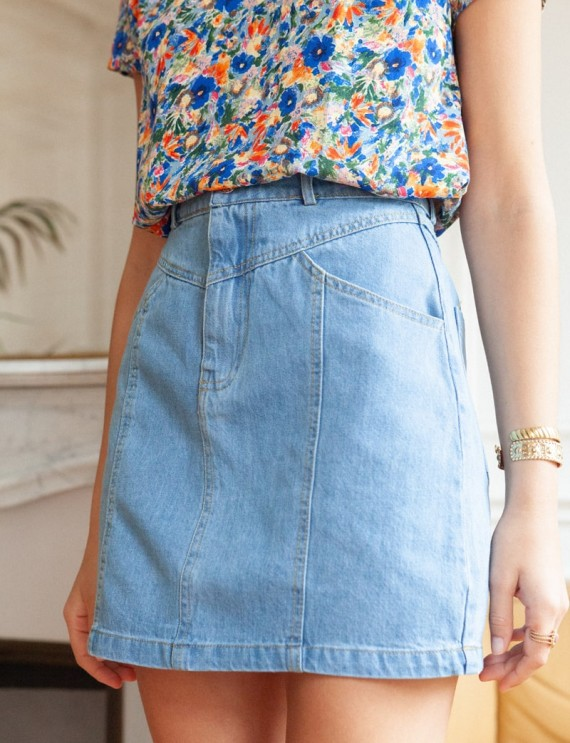Jupe en jean bleu Caro
