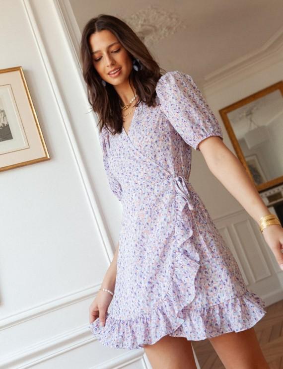 Robe lilas portefeuille Sari