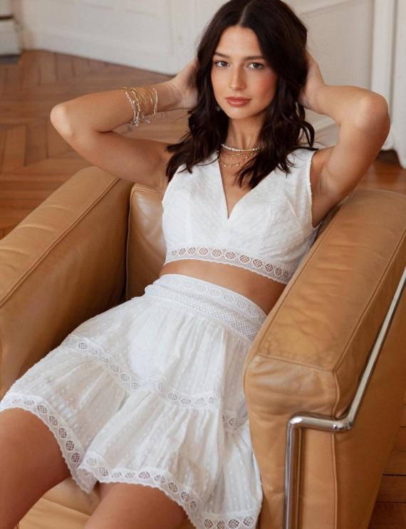 Total look jupe blanche Jessa