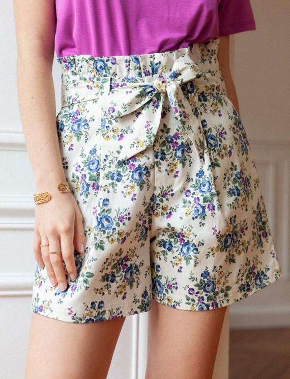 Ecru floral Mario shorts