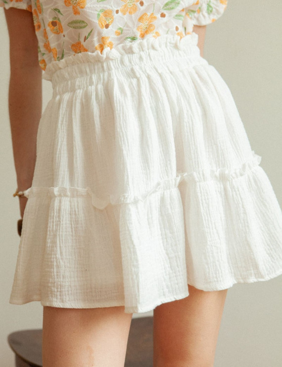 White cotton gauze Maéva skirt