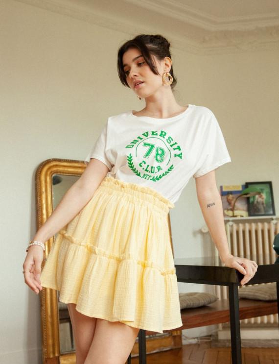 Look jupe jaune en gaze de coton Maéva