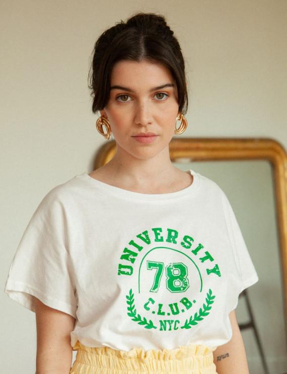 T-shirt blanc et vert University