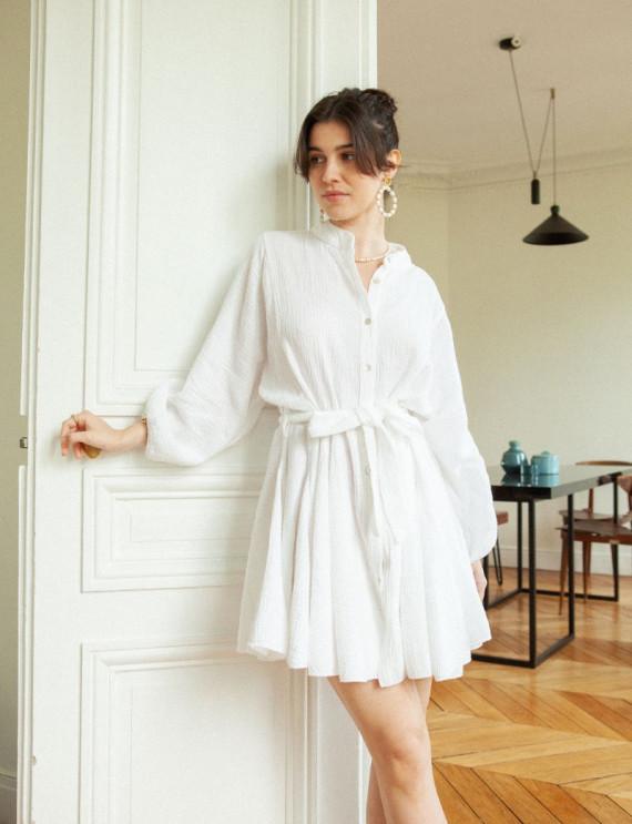 White cotton gauze Annaelle...