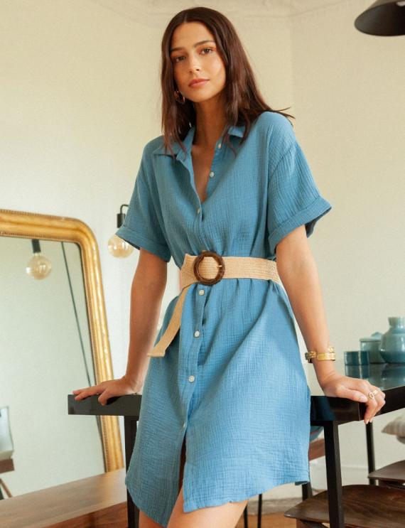 Robe chemise bleue Emma