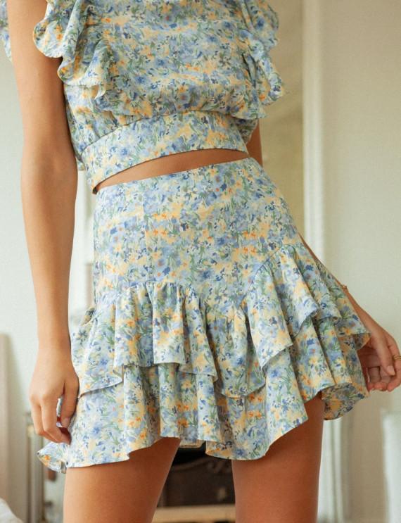 Blue floral Milana skirt