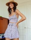 Look jupe-short noir fleuri Raphaella