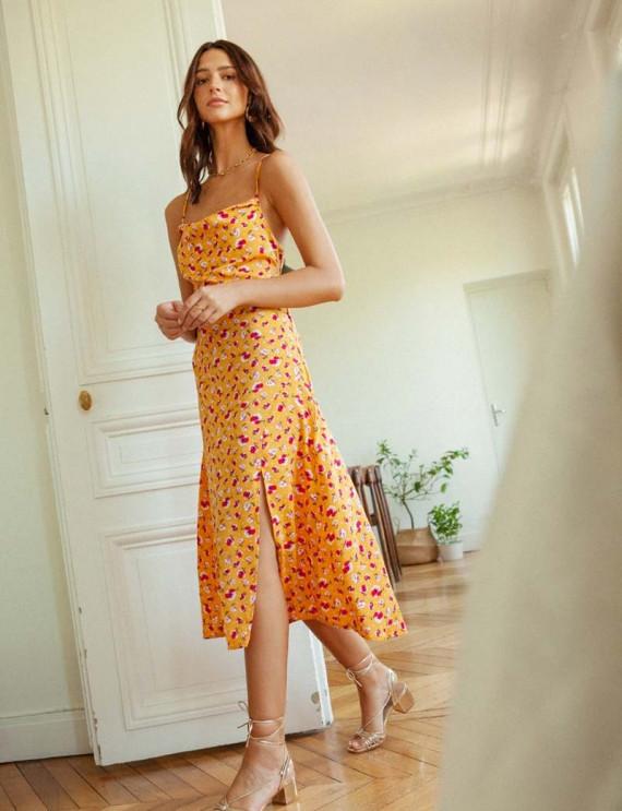 Yellow floral Dalia dress