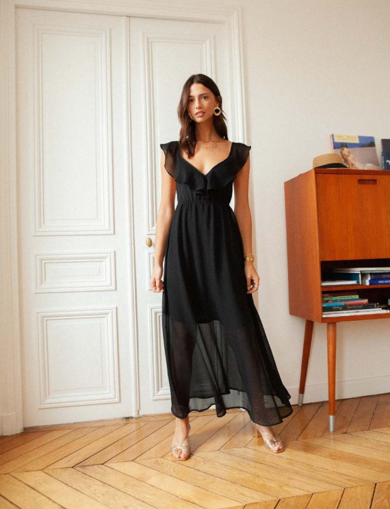 Robe longue noire Charlène