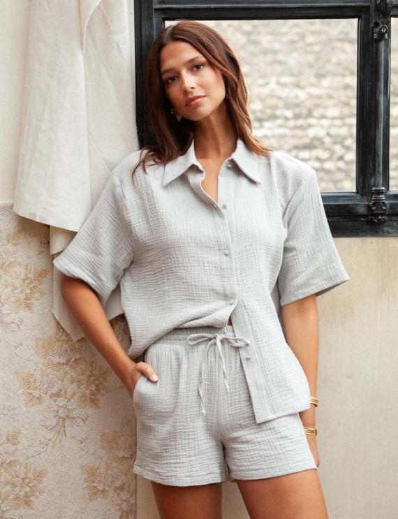 Grey cotton gauze Vic blouse