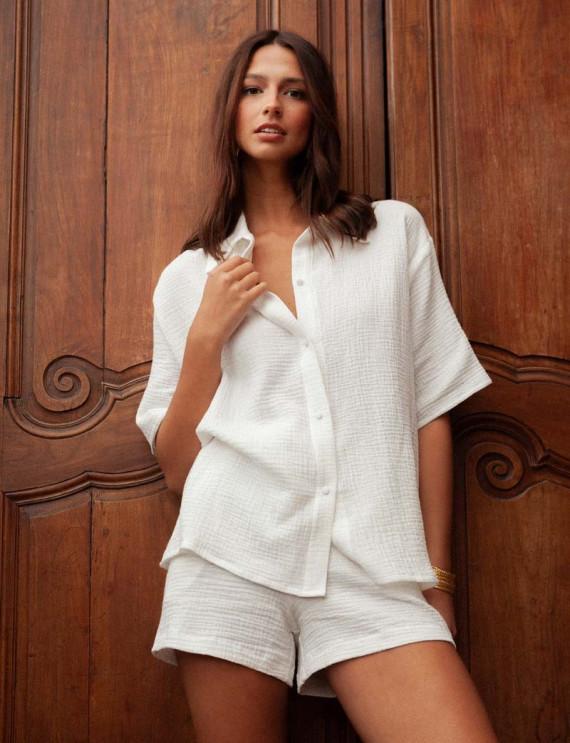 White cotton gauze Vic blouse