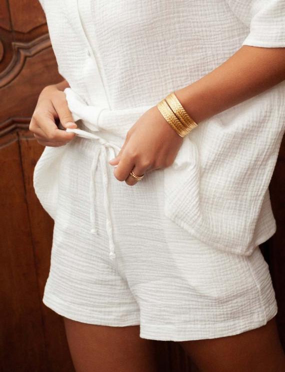 White cotton gauze Sam shorts