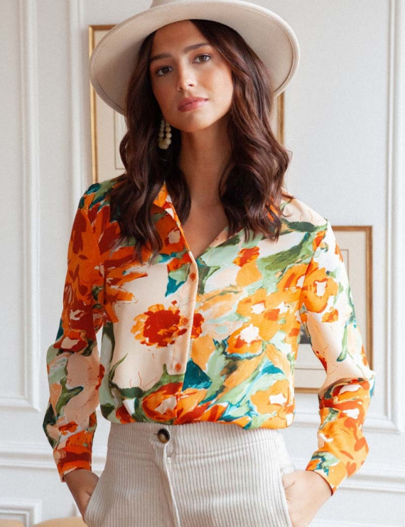 Ecru floral Tommy blouse