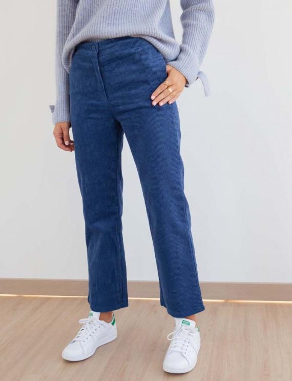 Pantalon en velours côtelé bleu Diego