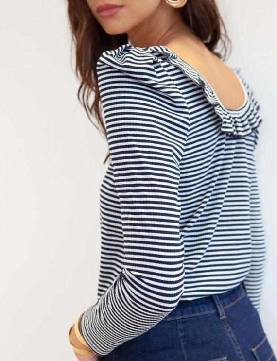 Navy Léone striped sweater