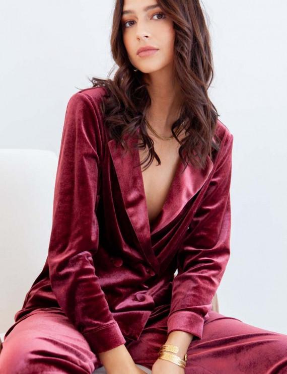 Burgundy Vida velvet jacket