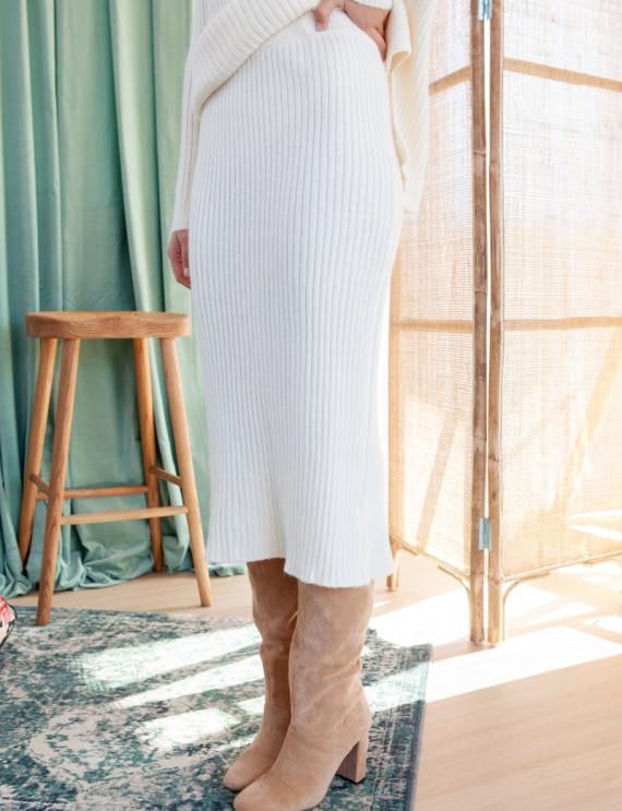 Ecru midi length Danya skirt
