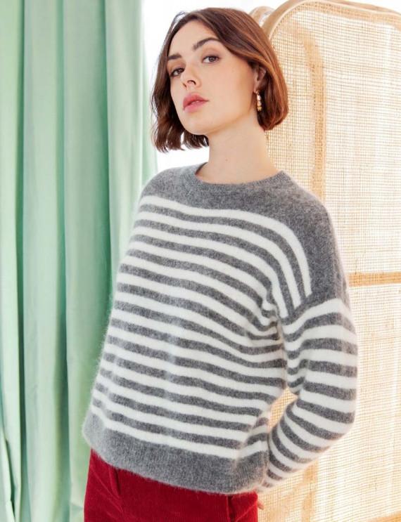 Grey Daniel striped sweater