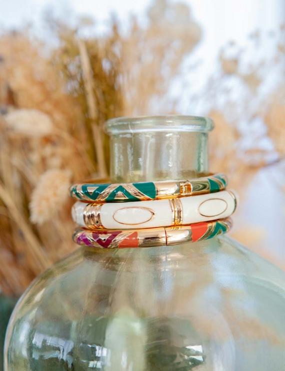 Trio of green bracelets
