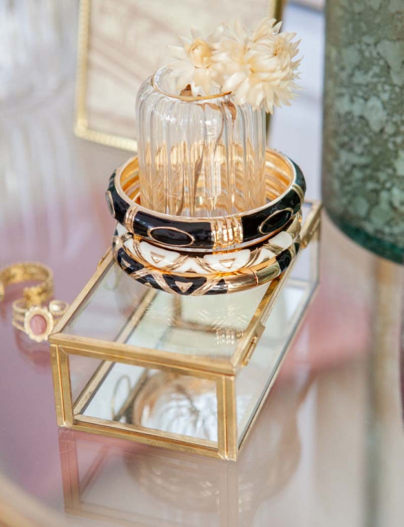 Trio of black bracelets