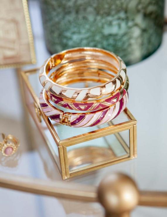 Trio of pink bracelets