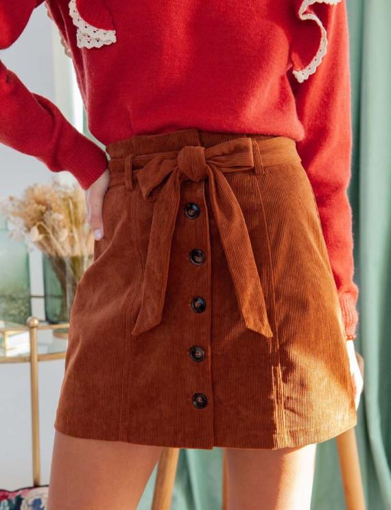 Camel Billie corduroy skirt