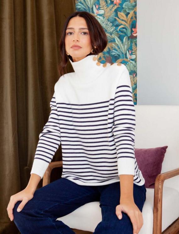 Pull blanc et marine Antonin