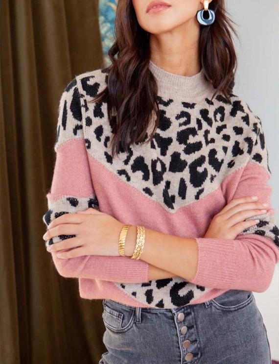 Pink Josh leopard sweater