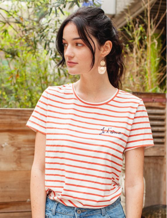 "Tee-shirt marinière corail  ""Je t'aime"""