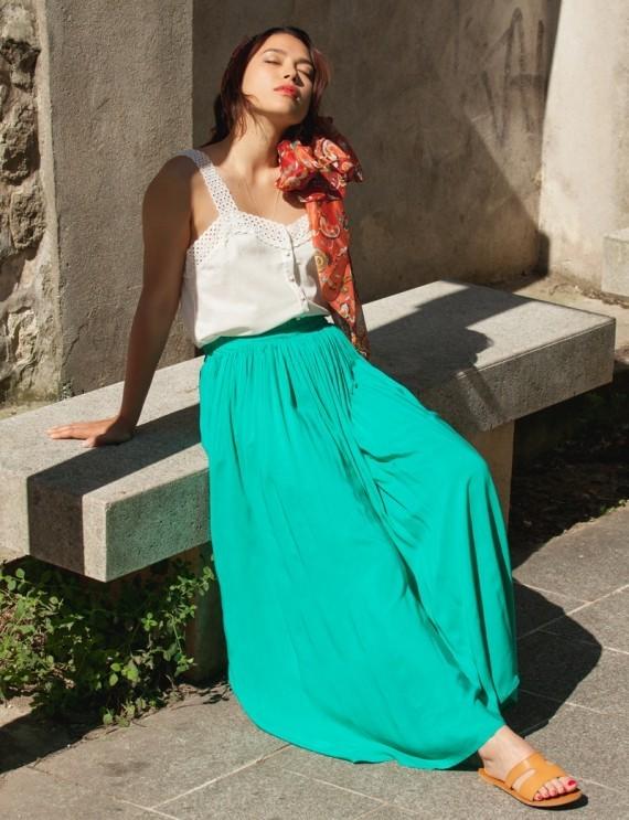 Lina long emerald skirt