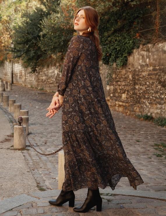 Robe longue noire Fleurine