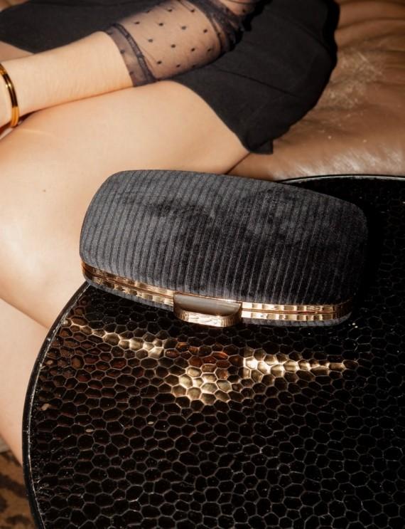 Sac pochette Reese en velours noir