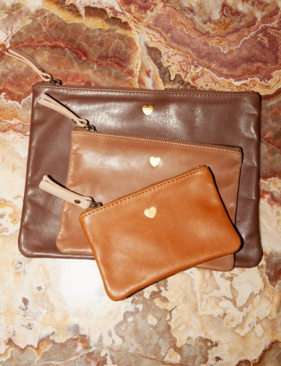 Trio brown leather handbags