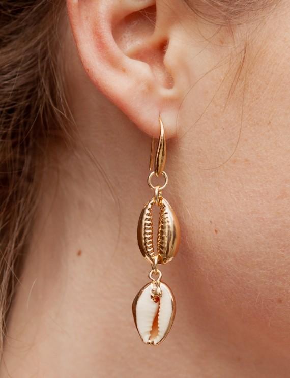 Boucles d'oreilles dorées Shell