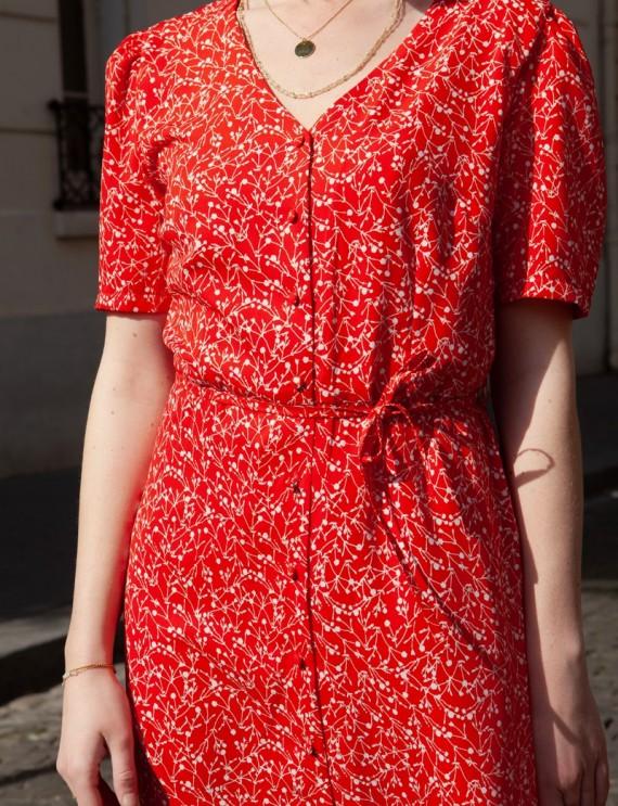 Robe rouge à fleurs Miga