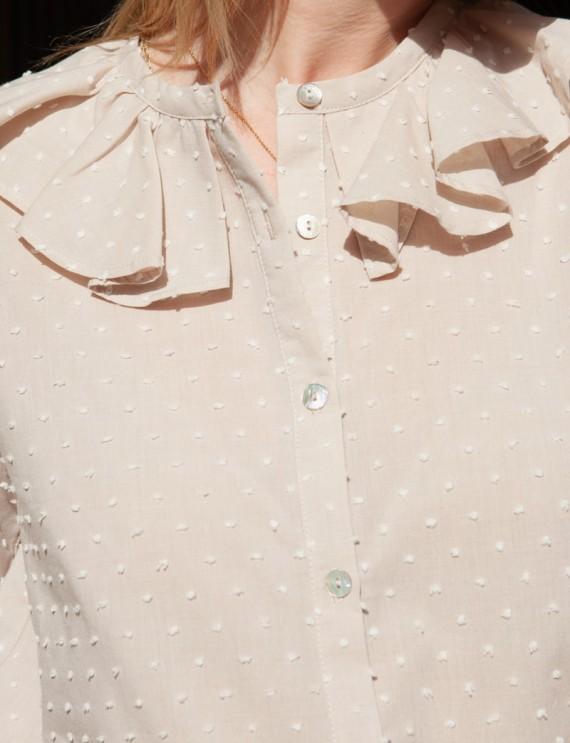 Chemise beige Albane col à volants