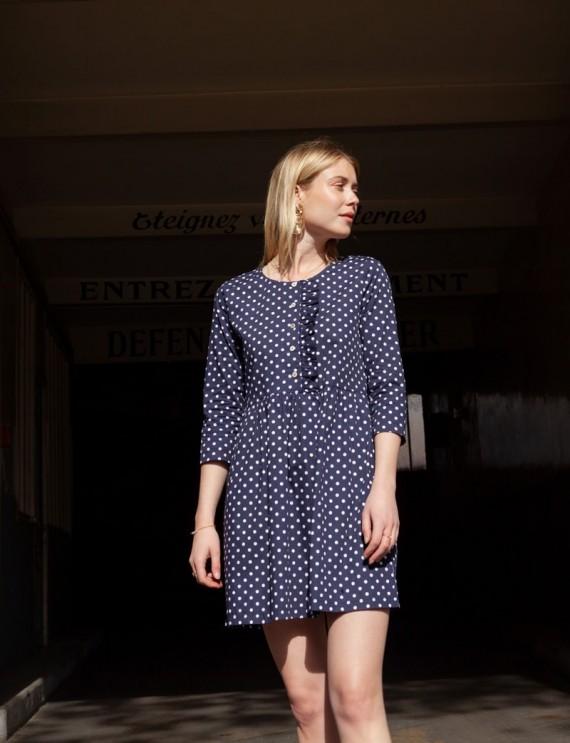 Sasha navy dress with polka...