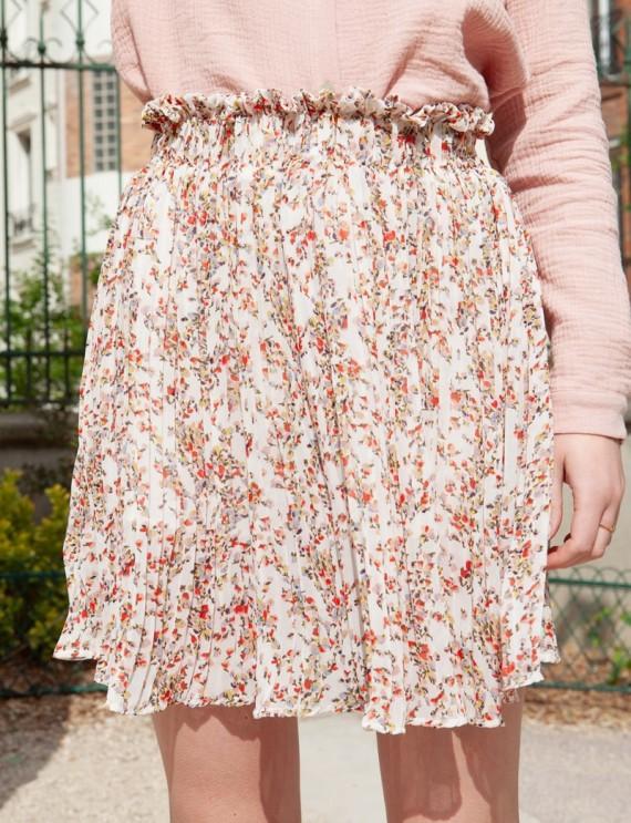 Prune floral skirt