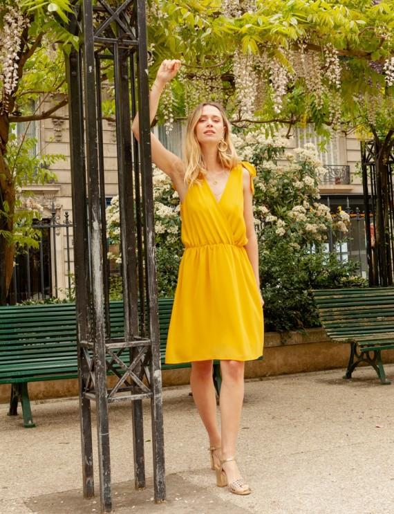 Olympia mustard yellow dress