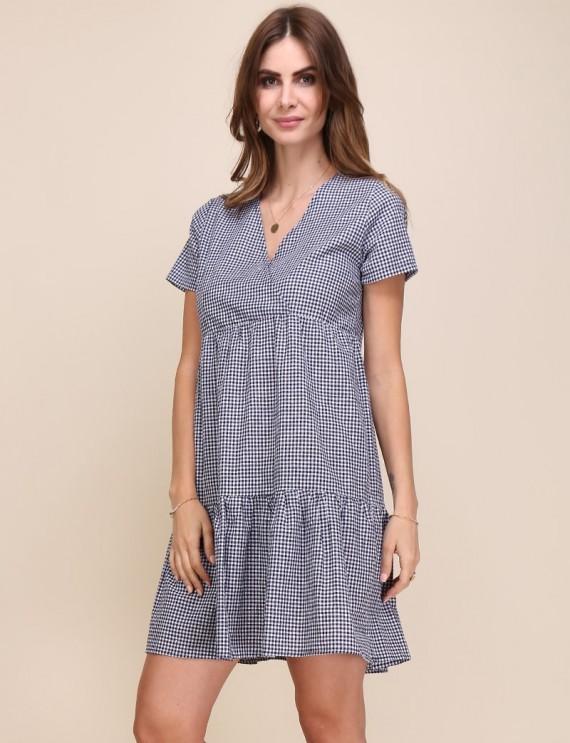Alix navy gingham dress