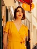 Robe porte-feuille moutarde Manola