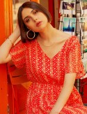 Robe mi-longue rouge Eliza