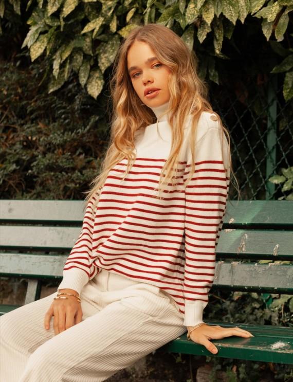 Pull rayé blanc et rouge Constance