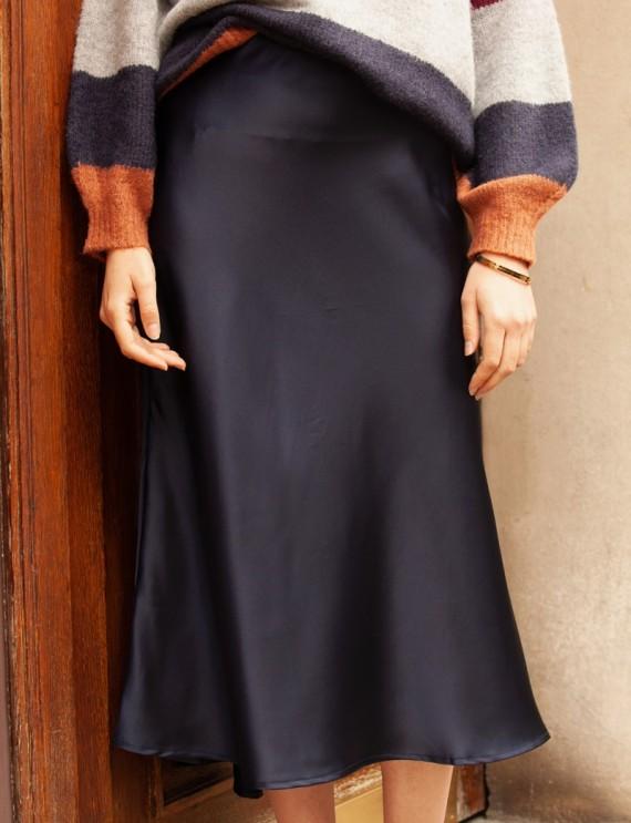 Léane navy blue satin skirt