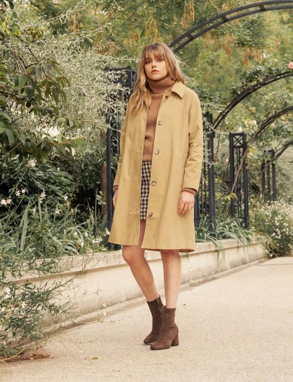 Manteau droit beige Clémence